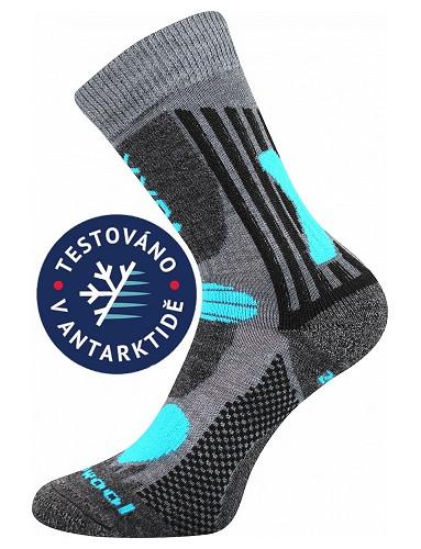 Dětské sportovní ponožky VoXX VISION, světle šedá s tyrkysovými detaily
