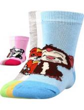 Kojenecké ponožky Boma FILÍPEK 01 ABS protiskluzové - balení 3 páry v barevném mixu