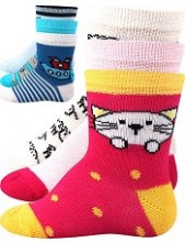 Kojenecké ponožky Boma BEJBIK - balení 3 páry v barevném mixu
