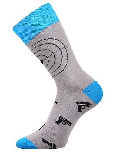 WEAREL 007 společenské ponožky Lonka, terče, sv. šedá