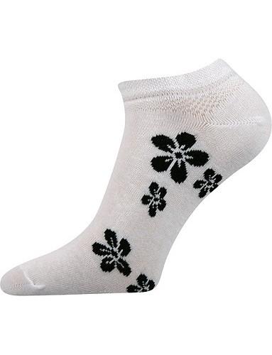 Ponožky Boma Piki dámské Mix 18A, bílá s černými kvítky